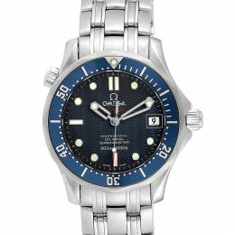 Omega Blue Stainless Steel Seamaster 2222.80.00 Men's Wriswatch 36 MM 232690