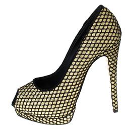 Guiseppe Zannotti Black/Gold Glitter And Fabric Sharon Peep Toe Platform Pumps Size 38.5 Giuseppe Zanotti Design 232591