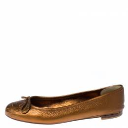 Gucci Golden Brown GG Leather Bow Ballet Flats Size 37.5 232777