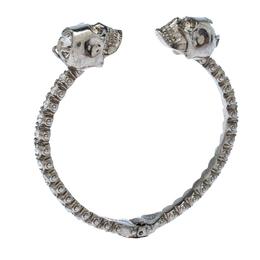 Alexander McQueen Twin Crystal Embedded Skull Silver Tone Open Cuff Bracelet 232213