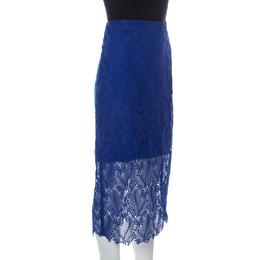 Diane Von Furstenberg Klein Blue Leaf And Floral Macramé-Lace Pencil Skirt M 232796