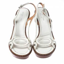 Sergio Rossi White Leather Slingback Wedge Sandals Size 37 232320