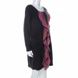 Missoni Grey and Pink Wool Ruffle Front Detail Tunic Sweater L 232618