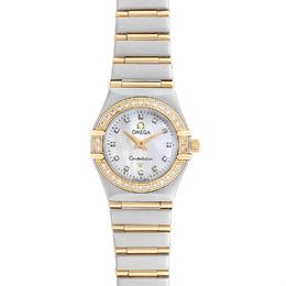 Omega MOP Diamonds 18K Yellow Gold Constellation 1267.75.00 Women's Wriswatch 22.5 MM 232677