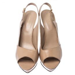 Sergio Rossi Beige Patent Leather Peep Toe Ankle Strap Platform Sandals 42 232287