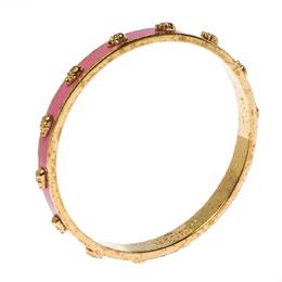 Alexander McQueen Pink Enamel 3D Skull Gold Tone Bangle Bracelet 233003