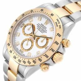 Rolex White 18K Yellow Gold and Stainless Steel Daytona 116523 Men's Wristwatch 40MM 232876