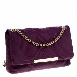 Carolina Herrera Purple Quilted Leather Flap Chain Shoulder Bag 229434