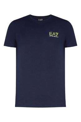 Синяя футболка с контрастным логотипом Ea7 2944154420