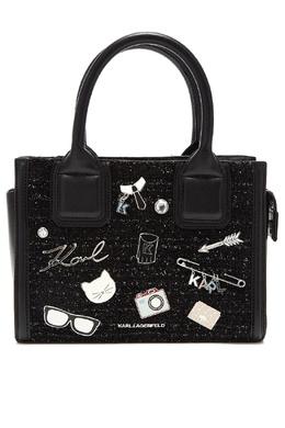 Комбинированная черная сумка с декором Karl Lagerfeld 682157108