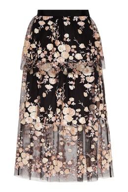 Черная юбка с цветами Self-portrait 532157105