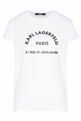 Белая футболка с контрастными надписями Karl Lagerfeld 682156982