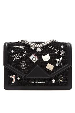 Комбинированная черная сумка с отделкой Karl Lagerfeld 682157112