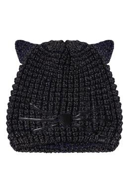 Синяя шапка с люрексом и «ушками» Karl Lagerfeld 682157153