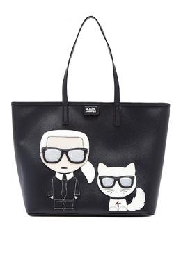 Черная сумка с фирменными аппликациями Karl Lagerfeld 682157085