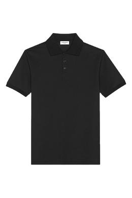 Черное поло с короткими рукавами Saint Laurent 1531157047