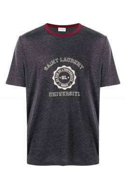 Серая футболка с надписью и логотипом Saint Laurent 1531157040