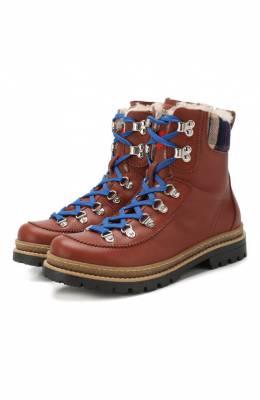 Кожаные ботинки с меховой отделкой Dsquared2 62442/36-41