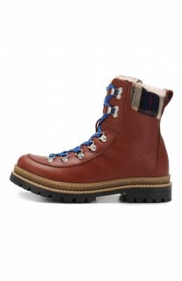 Кожаные ботинки с меховой отделкой Dsquared2 62442/18-27