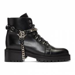 Balmain Black Silver B Harness Ranger Boots 192251F11300706GB