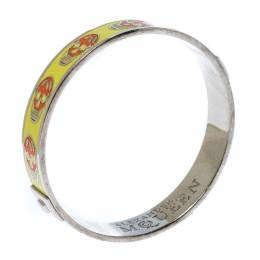 Alexander McQueen Yellow Resin Skull Enamel Silver Tone Bangle Bracelet 233121