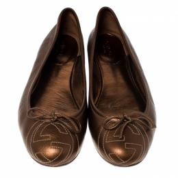 Gucci Golden Brown GG Leather Bow Ballet Flats Size 38 233506