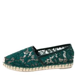 Valentino Green Lace Espadrilles Size 36 233502
