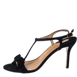 Salvatore Ferragamo Black Suede Pavi T Strap Bow Slingback Sandals Size 37.5 232560