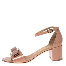 Salvatore Ferragamo Beige Patent Leather Ankle Strap Sandals Size 36 233108