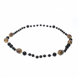 Dolce & Gabbana Printed Beaded Gold Tone Long Necklace 233118