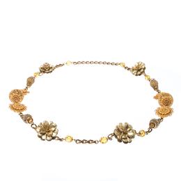 Dolce & Gabbana Crystal Flower Filigree Gold Tone Long Station Necklace 233101
