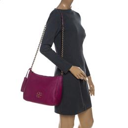 Carolina Herrera Hot Pink Leather Chain Tassel Shoulder Bag 229506