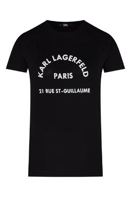Черная футболка с контрастными надписями Karl Lagerfeld 682156981