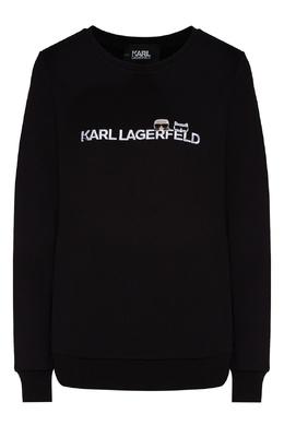 Черный свитшот с фирменной символикой Karl Lagerfeld 682156997