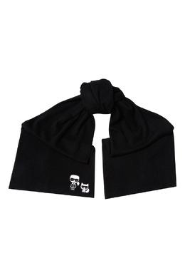 Черный шарф с контрастными аппликациями Karl Lagerfeld 682156975