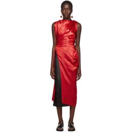 Marni Red Satin Tunic Blouse 192379F11100101GB