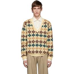Gucci Beige Argyle Wool V-Neck Sweater 192451M20600302GB