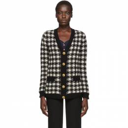 Gucci Black and Off-White Oversized Houndstooth Cardigan 595694 XKAW9