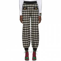 Gucci Black and Off-White Houndstooth Lounge Pants 586299 XKAW9