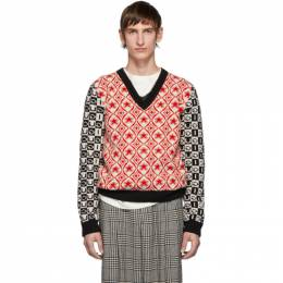 Gucci Red and Black Wool Jacquard V-Neck Sweater 192451M20600507GB