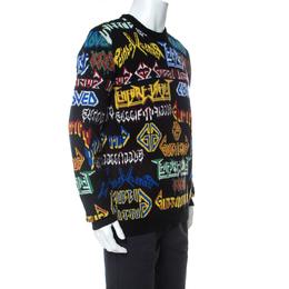 Gucci Black Wool Intarsia Knit Black Sabbath Sweater S 233611