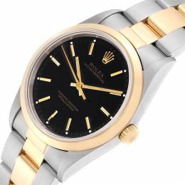 Rolex Black 18K Yellow Gold And Stainless Steel Oyster Perpetual 14203 Men's Wristwatch 34 MM 233570