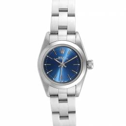 Rolex Blue Stainless Steel Oyster Perpetual 67180 Women's Wristwatch 24 MM 233566