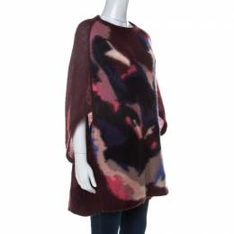Sonia Rykiel Burgundy Knit Raglan Sleeve Cocoon Sweater M 233089
