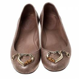 Gucci Beige Guccissima Leather Bamboo Heart Ballet Flats Size 37.5 233796