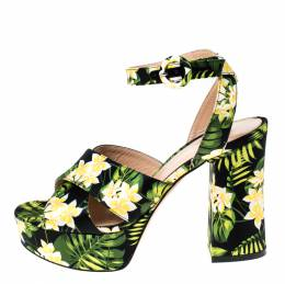 Gianvito Rossi Multicolor Printed Floral Satin Cross Strap Platform Sandals Size 36 233323
