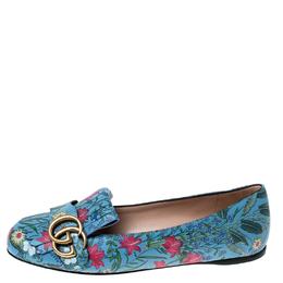 Gucci Multicolor Floral Print Leather GG Marmont Fringe Detail Ballet Flats Size 35.5 233461