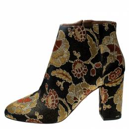 Aquazzura Multicolor Floral Brocade Fabric Brooklyn Oriental Ankle Boots Size 40 234473