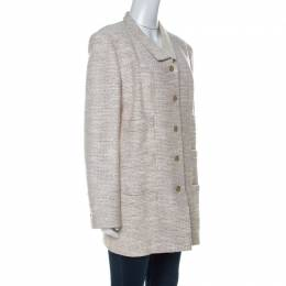 Chanel Beige Tweed Button Front Jacket L 233259