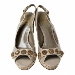 Burberry Beige Leather Studed Peep Toe Singback Wedges Platform Espadrille Sandals Size 37.5 234454